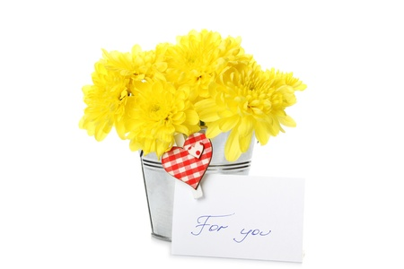 Yellow chrysanthemums in a pail Stock Photo - 9495912
