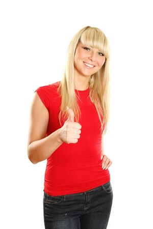 Close-up of a young woman showing thumbs up photo