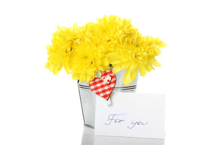 Yellow chrysanthemums in a pail Stock Photo - 9537685