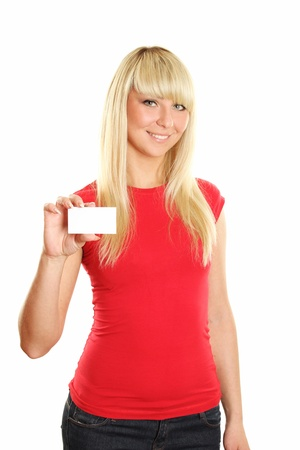 Business card woman Stock Photo - 9577989