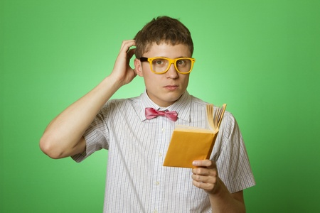 bookworm: Young man bookworm reading