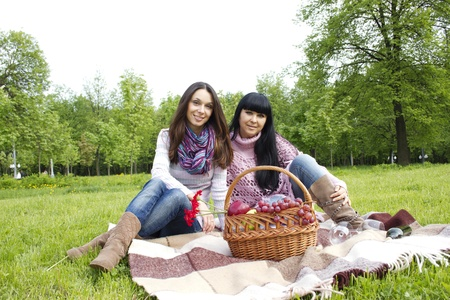 Mother and daughter sitting at a picnic on a blanket next to baskets full of fruit and wine photo