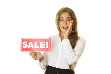 Businesswoman holding sale card photo