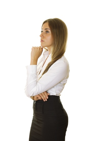 skirt up: Close-up of a confident young businesswoman