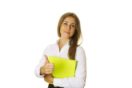 Lady holding a folder with a thumbs up photo