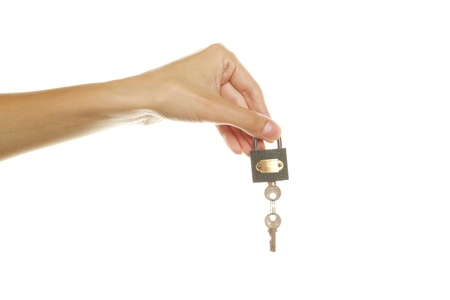escrow: holding a lock and key Stock Photo