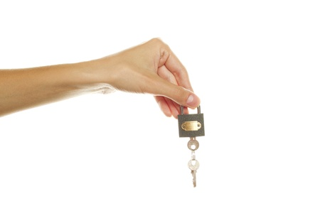 In his hand lock with keys Stock Photo - 10396384