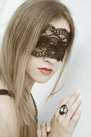lace up: Beautiful woman Stock Photo
