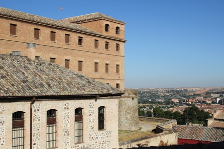 toledo town: Old town of Toledo, beside the Tagus River, former capital of Spain.