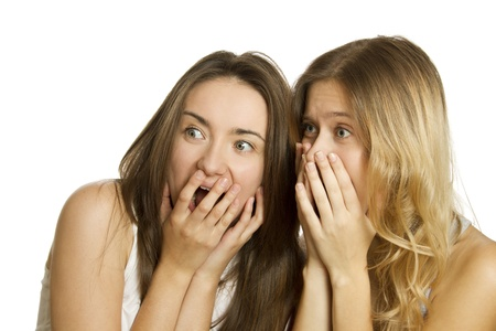 Two young women terrified and screaming Stock Photo - 11102616