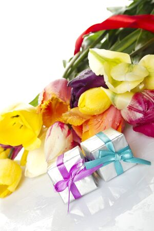 Tulips and two gift box photo