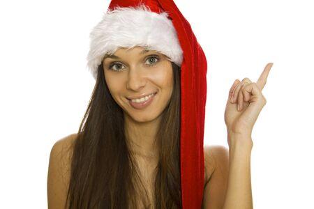 Santa woman pointing up Stock Photo - 11454352