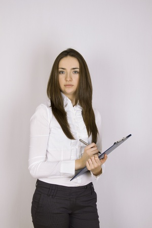 Businesswoman holding folder photo