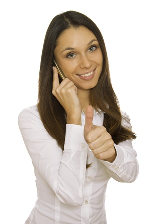 Attractive business woman talking on the phone photo