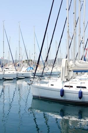 Many boats moored in the harbor  Marina in the Mediterranean