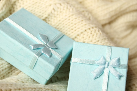 Close-up of two turquoise gift boxes  Boxes for jewelry photo