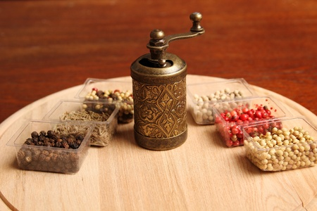 Close-up of six species of spices and Mill Stock Photo - 17689681