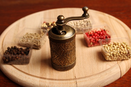 Close-up of six species of spices and Mill Stock Photo - 17689682