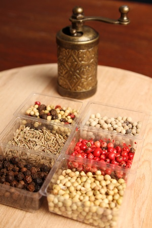 Close-up of six species of spices and Mill Stock Photo - 17689671