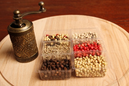 Close-up of six species of spices and Mill Stock Photo - 17689683