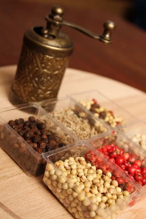 Close-up of six species of spices and Mill Stock Photo - 17689676