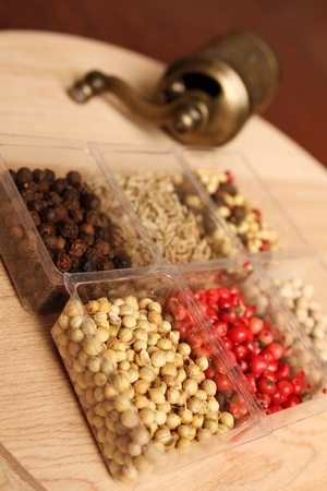 Close-up of six species of spices and Mill Stock Photo - 17689670