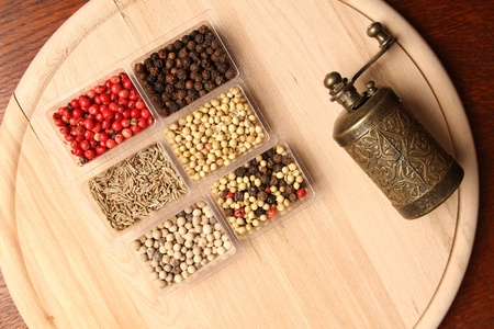 Close-up of six species of spices and Mill Stock Photo - 17689685