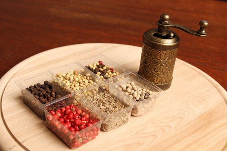Close-up of six species of spices and Mill Stock Photo - 17689679
