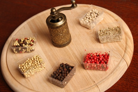 Close-up of six species of spices and Mill Stock Photo - 17689680