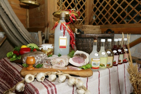 Slavic interior with a bottle of homemade alcohol
