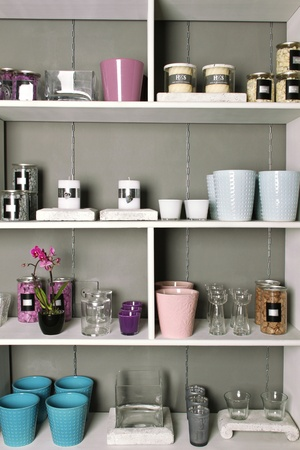 Store shelves with a different product. Decorative objects photo