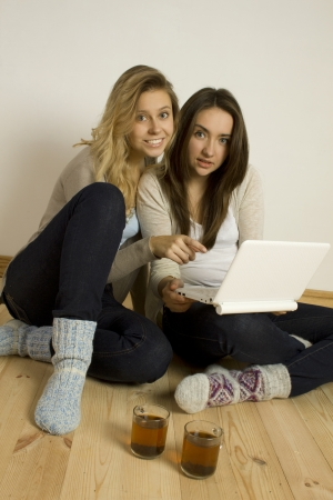 clothes interesting: Two attractive women sitting at home on the floor with a laptop