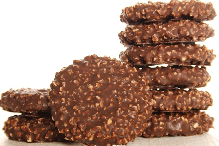 Close-up of round chocolate biscuits