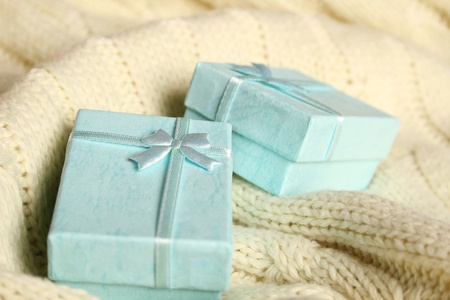 Close-up of two turquoise gift boxes. Boxes for jewelry photo