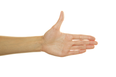 Close up of woman hand stretched forward. Isolated