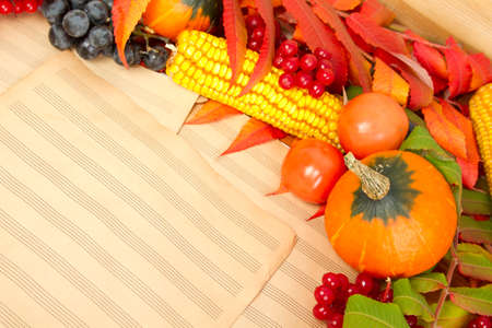 The frame of the gifts of autumn pumpkins, corn, fall leaves photo