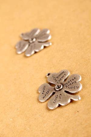 Closeup metal clover  that says a lot of desires Stock Photo