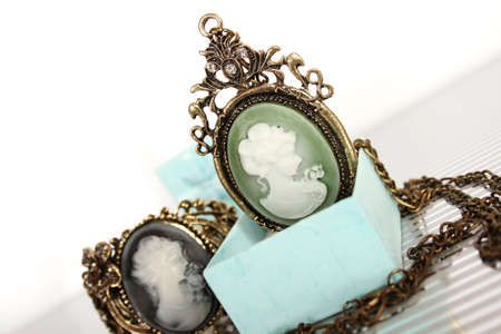 Close-up of vintage pendant in gift box photo
