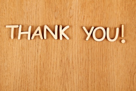 writing western: Closeup wooden words Thank you on a wooden background Stock Photo