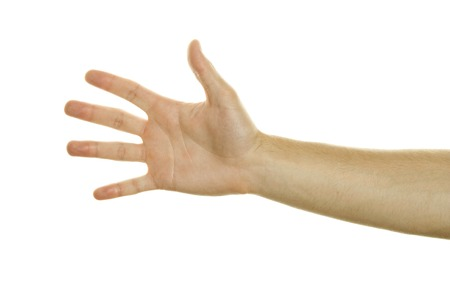 one hand: One Hand Open. Isolated on white background Stock Photo