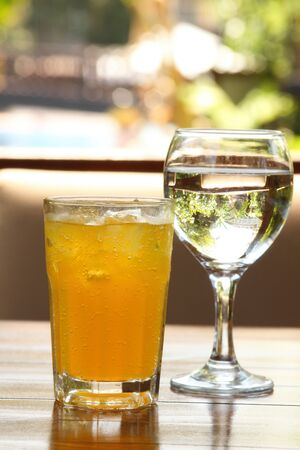 fizzy: A glass of fizzy drink on a wooden table Stock Photo