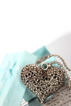 Close-up of a heart necklace in a gift box Reklamní fotografie