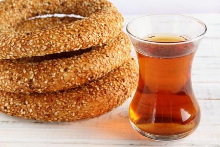 Traditional Turkish simit isolated on white background Stock Photo