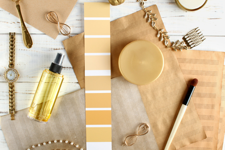 Color palette and many elements in yellow tones. Design