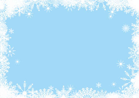 Background frame for New Year and Christmas holidays in blue and white colors from snowflakes 免版税图像 - 157891667