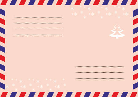 The envelope of a letter to Santa Claus. On the envelope, there are red and blue stripes with snowflakes and a Christmas tree
