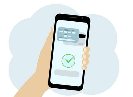 Vector drawing of a mobile phone in hand in which the card payment is confirmed