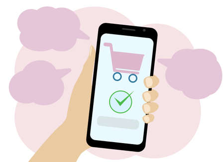 Vector hand drawing with a phone which depicts a shopping basket. Online payment for purchases.