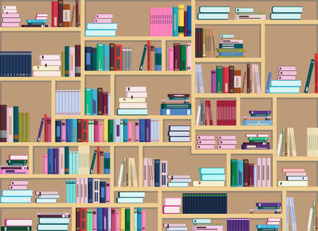 Vector illustration of a large bookcase filled with many colorful books. Books are arranged differently Vector Illustratie