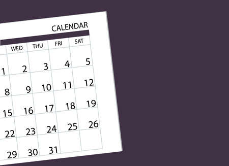 Vector illustration. Calendar with days of the week and dates on the table. View from above